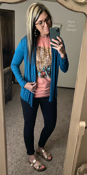 Tarrant Teal Cardigan - Also in Plus Size