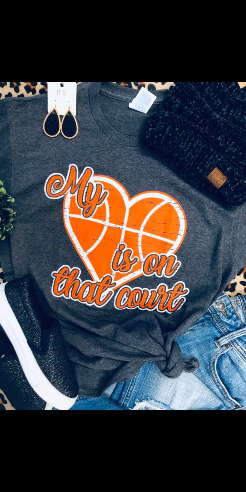 My Heart is On That Court Basketball Top - Also in Plus Size