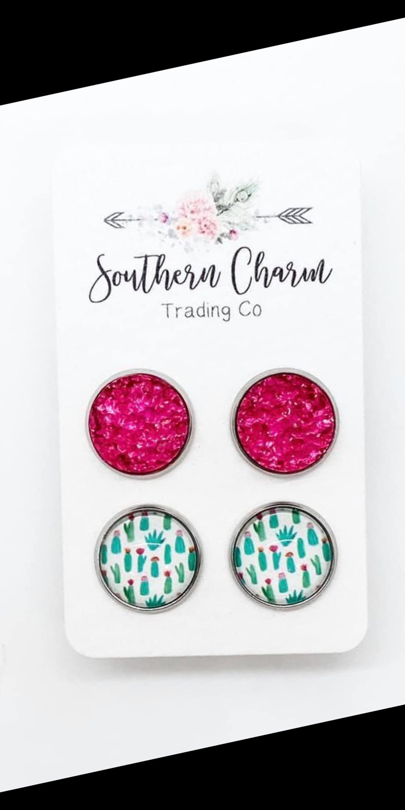 Cactus & Fuchsia Druzy Earrings Set