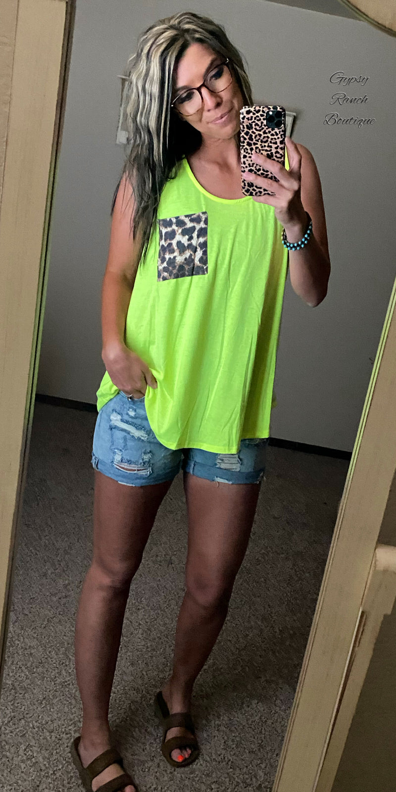 Cicily Neon Green Leopard Pocket Tank Top - Also in Plus Size