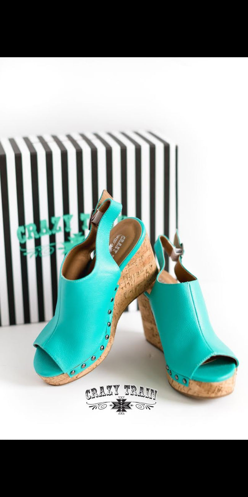 Showdown Turquoise Wedge Sandals