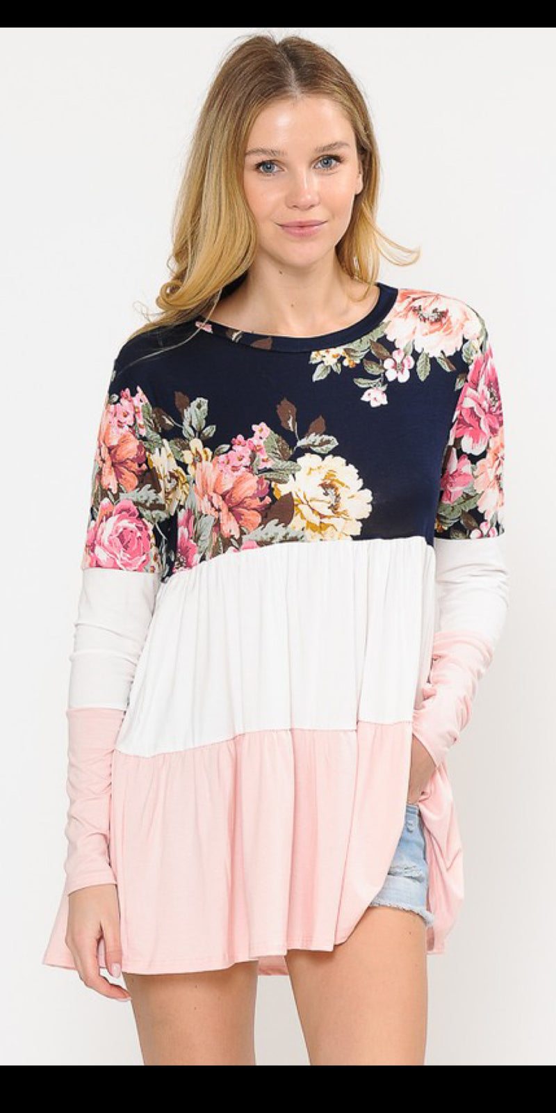Lana Navy Floral Top - Also in Plus Size