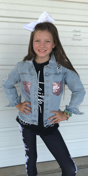 Kids Distressed Sequin Jacket
