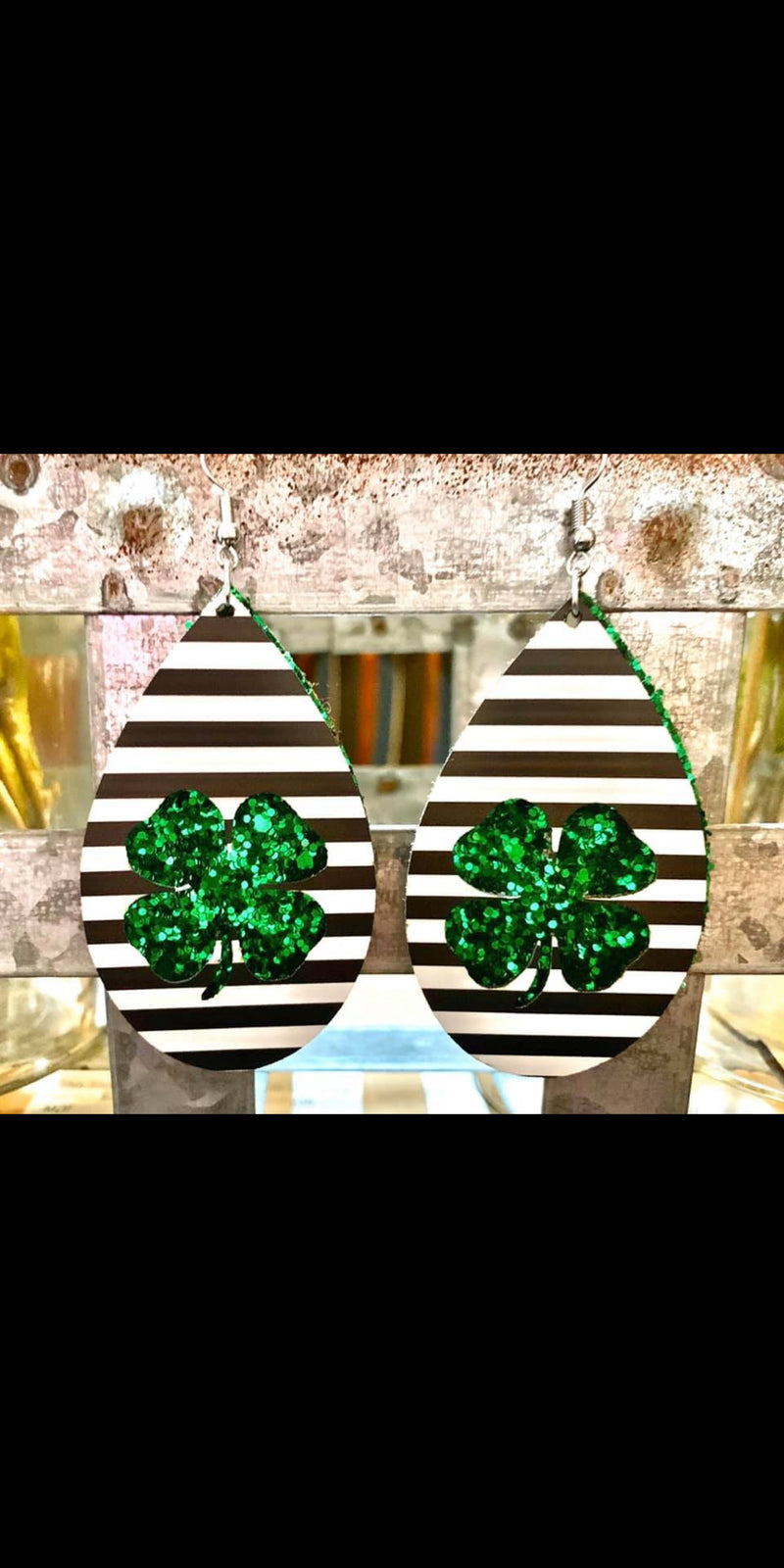 Lucky Stripe & Glitter Shamrock Earrings