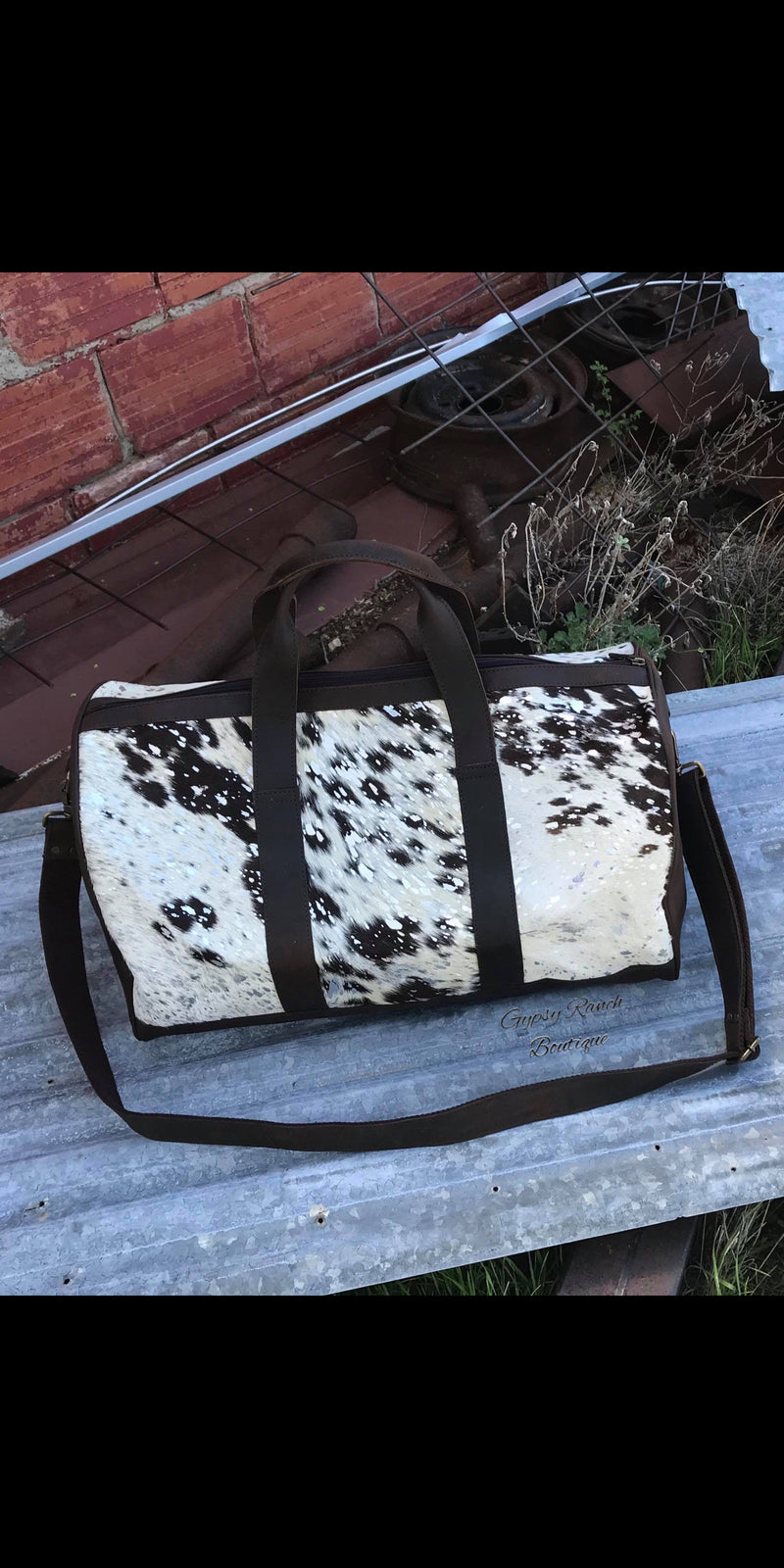 Reliance Ranch Cowhide Acid Wash Weekender Duffle Bag