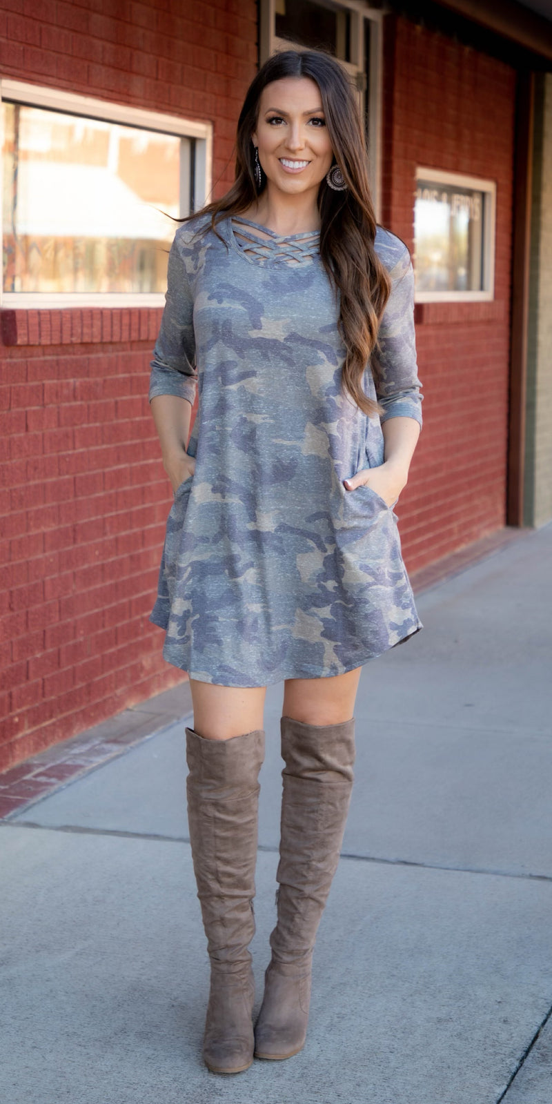Fire Away Camo Criss Cross Tunic Dress - Also in Plus Size
