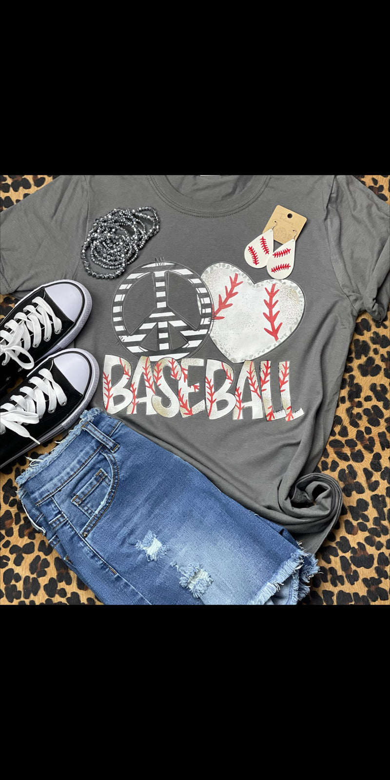 Peace Love Baseball Top  - Also in Plus Size