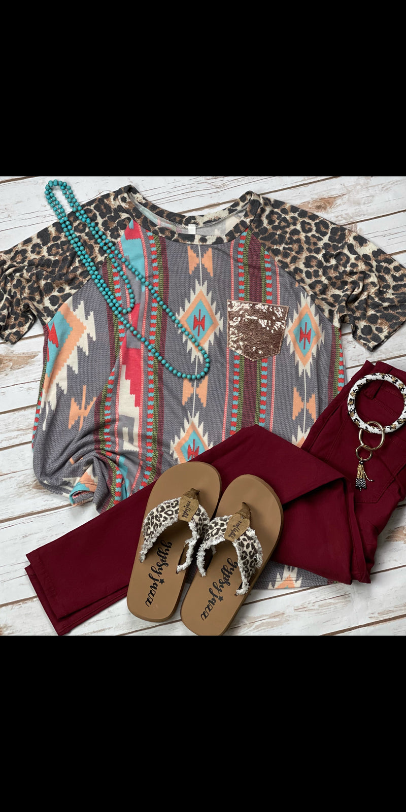 Eden Aztec Leopard Sequin Top