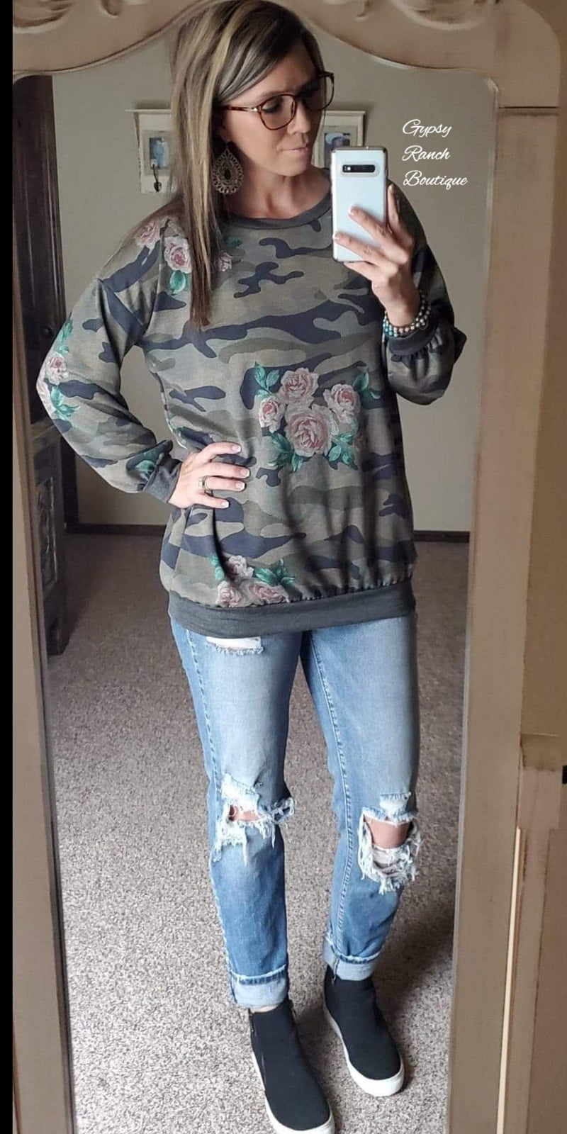 Ariana Floral Camo Top  - Also in Plus Size