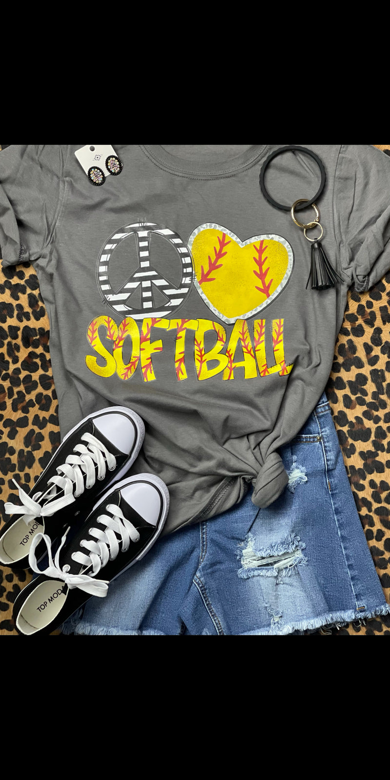 Peace Love Softball Top  - Also in Plus Size