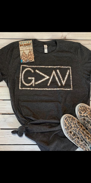 God is Greater than the Highs & Lows Leopard Top - Also in Plus Size