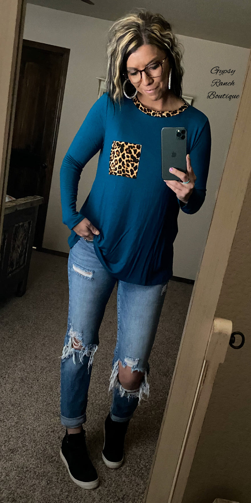 Tarah Teal Leopard Top - Also in Plus Size