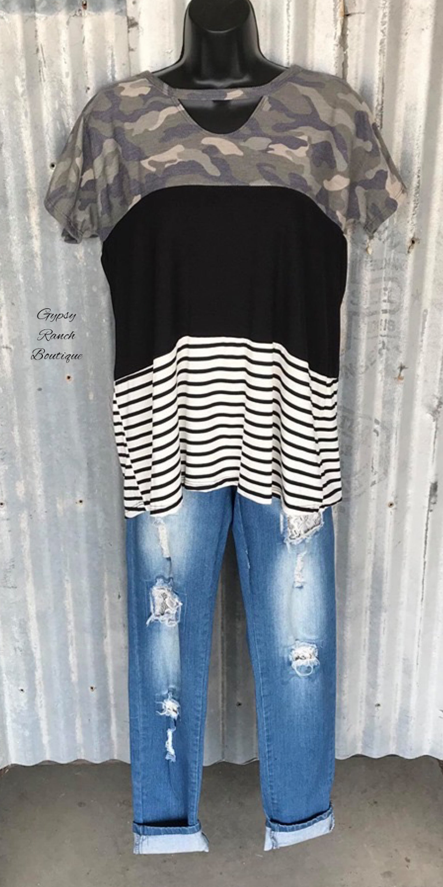 Sunset Camo Stripe Top - Also in Plus Size