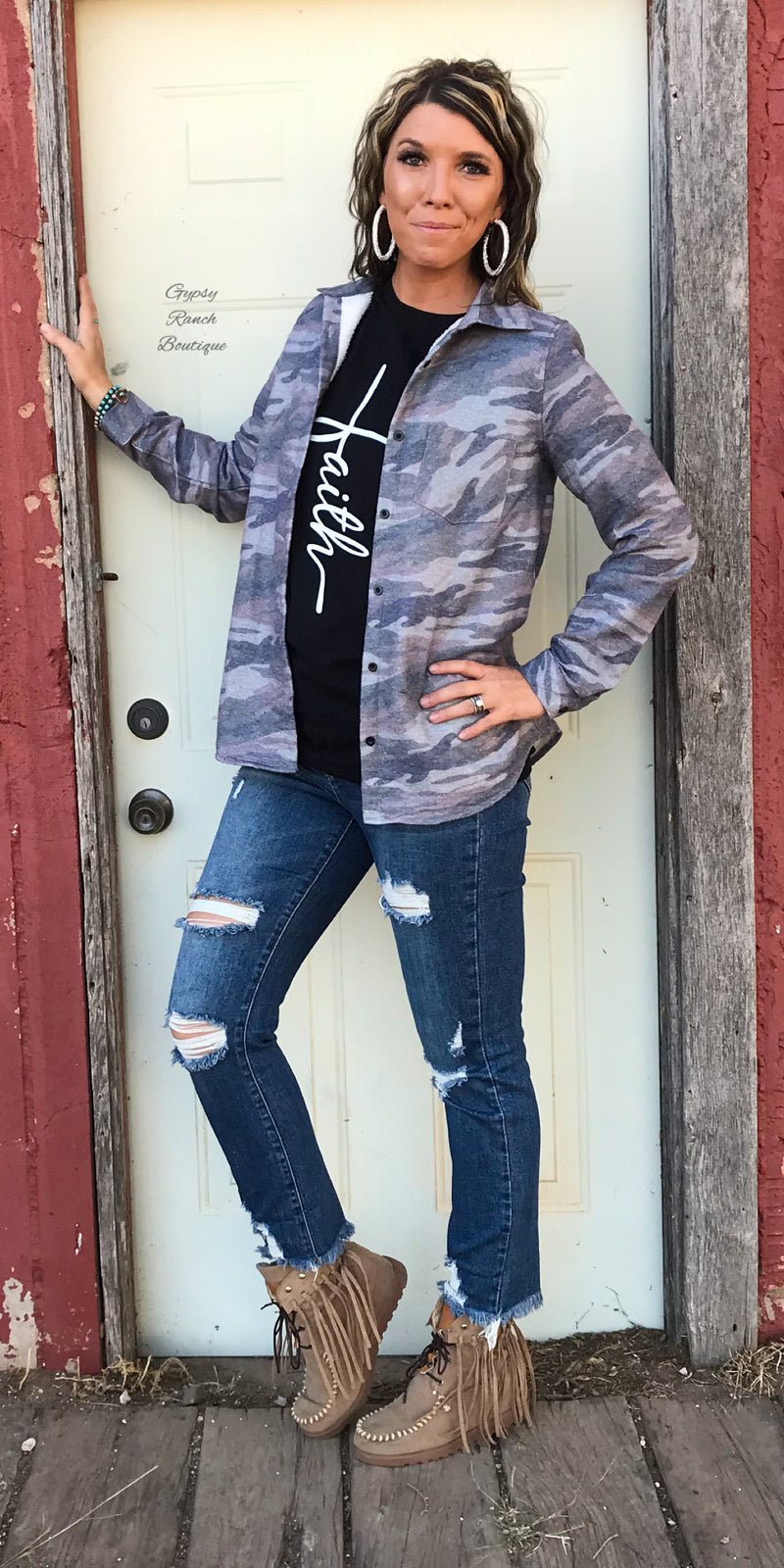 Clamity Camo Button Up Top Fleece Lined - Also in Plus Size
