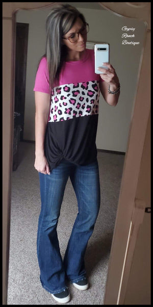 Windsor Knot Leopard Top - Also in Plus Size