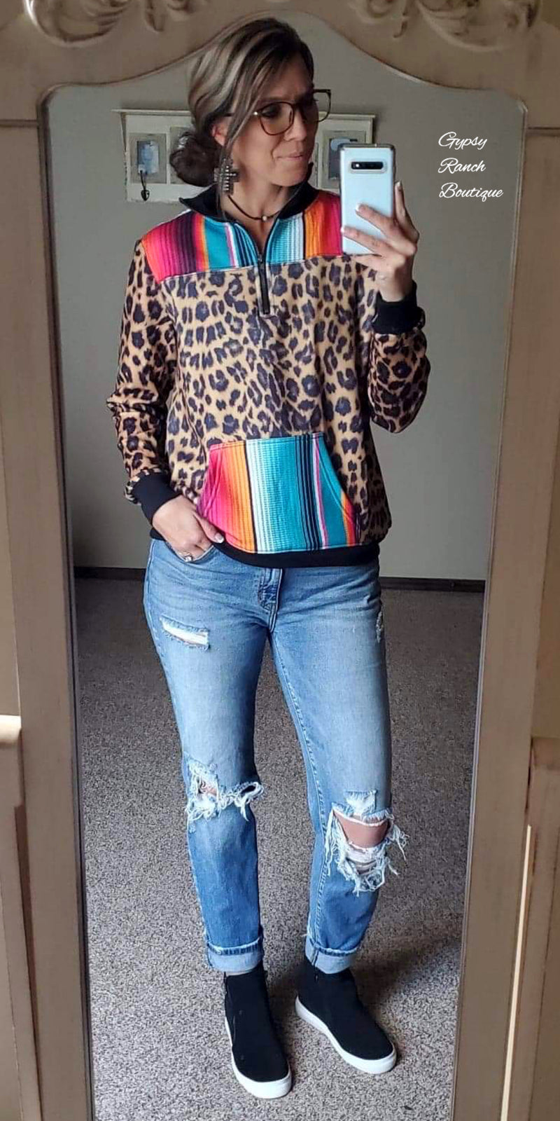Jayco Leopard Serape Pullover Top - Also in Plus Size