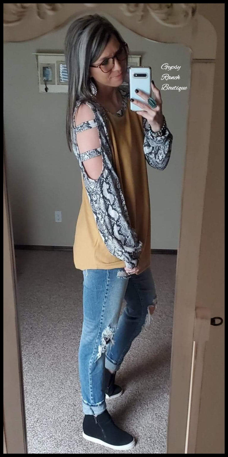 Sadie Snake Print Cut Out Sleeve Top - Also in Plus Size