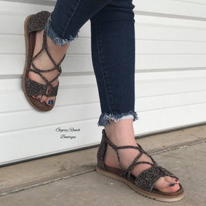 The Huntsville Grey Leopard Sandals