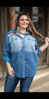 Seguin Serape Denim Top -Also in Plus Size