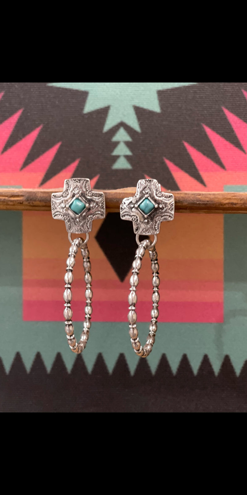 Everly Silver Turquoise Hoop Earrings