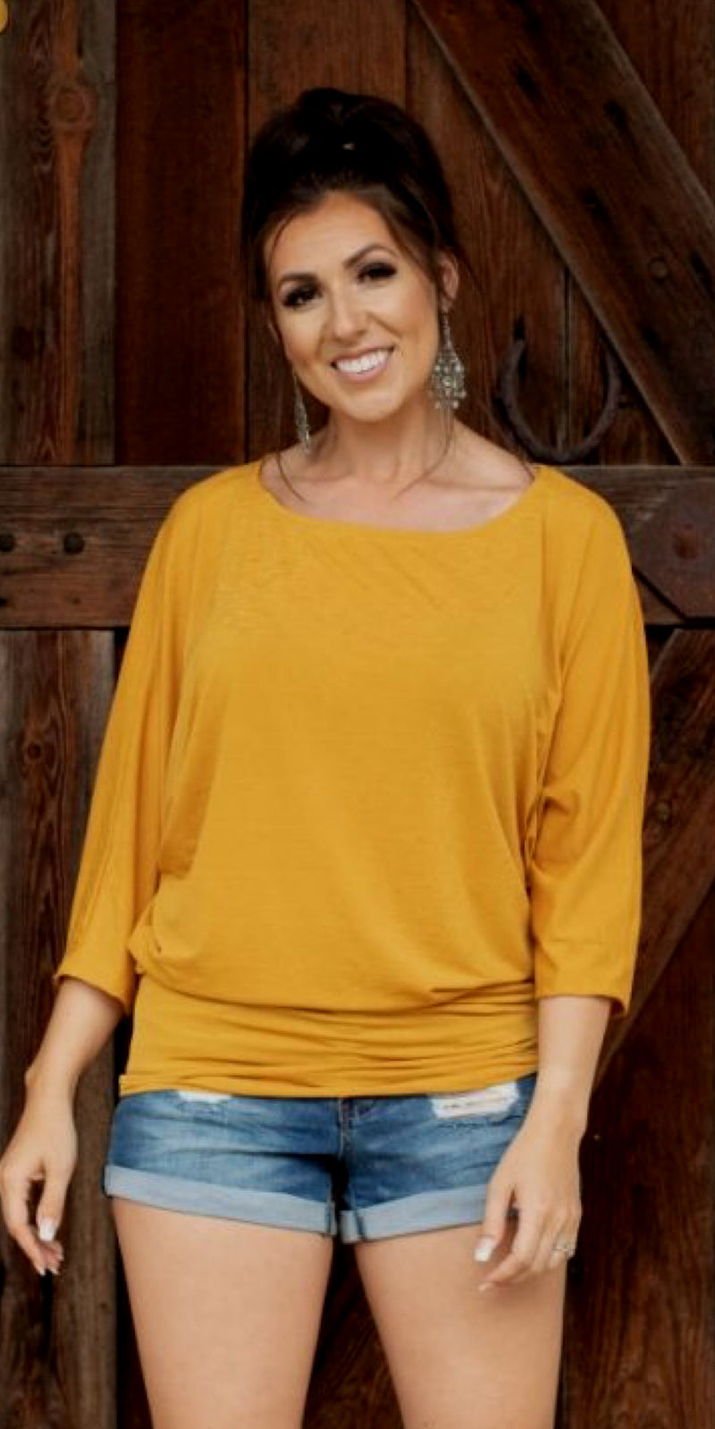 Mustard 3/4 Sleeve Dolman Top - Also in Plus Size