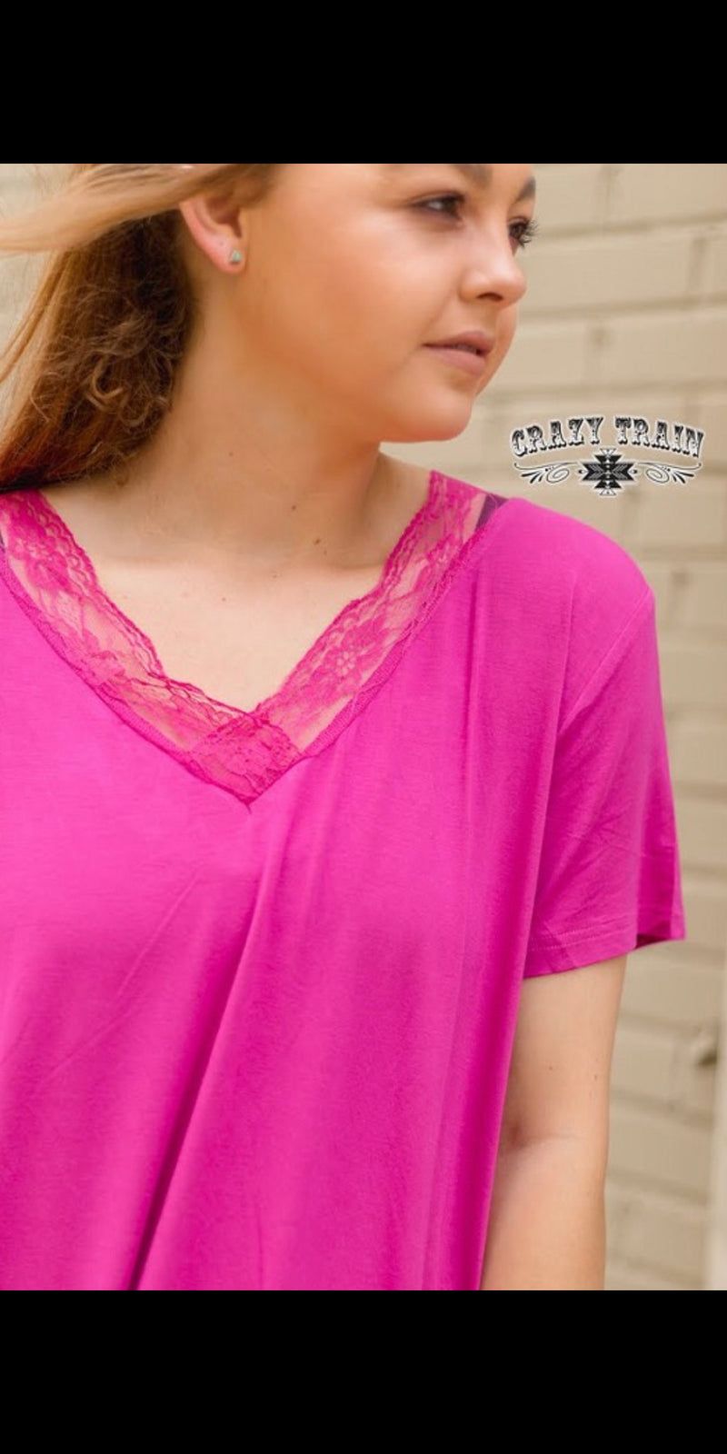 Very Fave Magenta Lace V Neck Top - Also in Plus Size