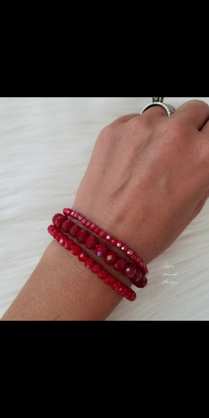 Set of Three Red Bracelets