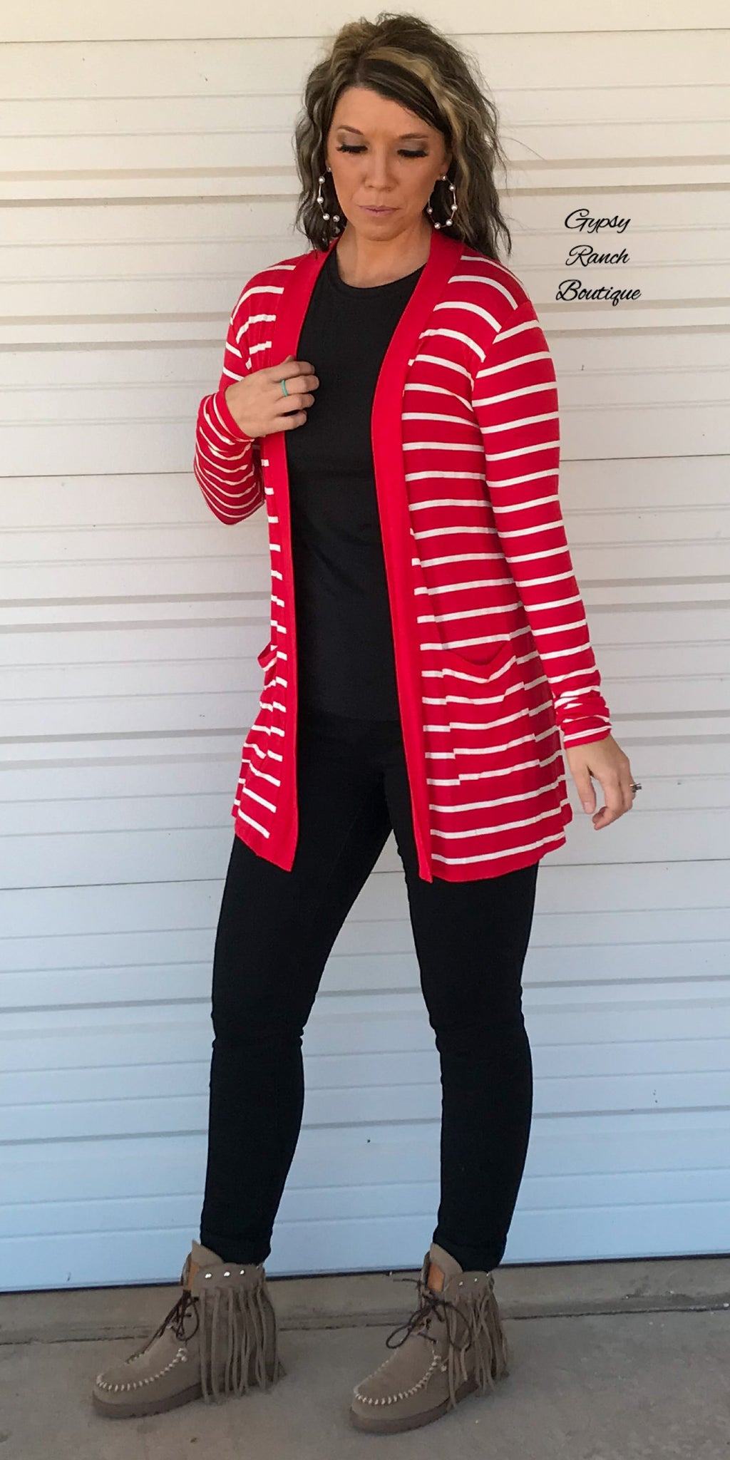 Calgary Red Stripe Cardigan - Also in Plus Size