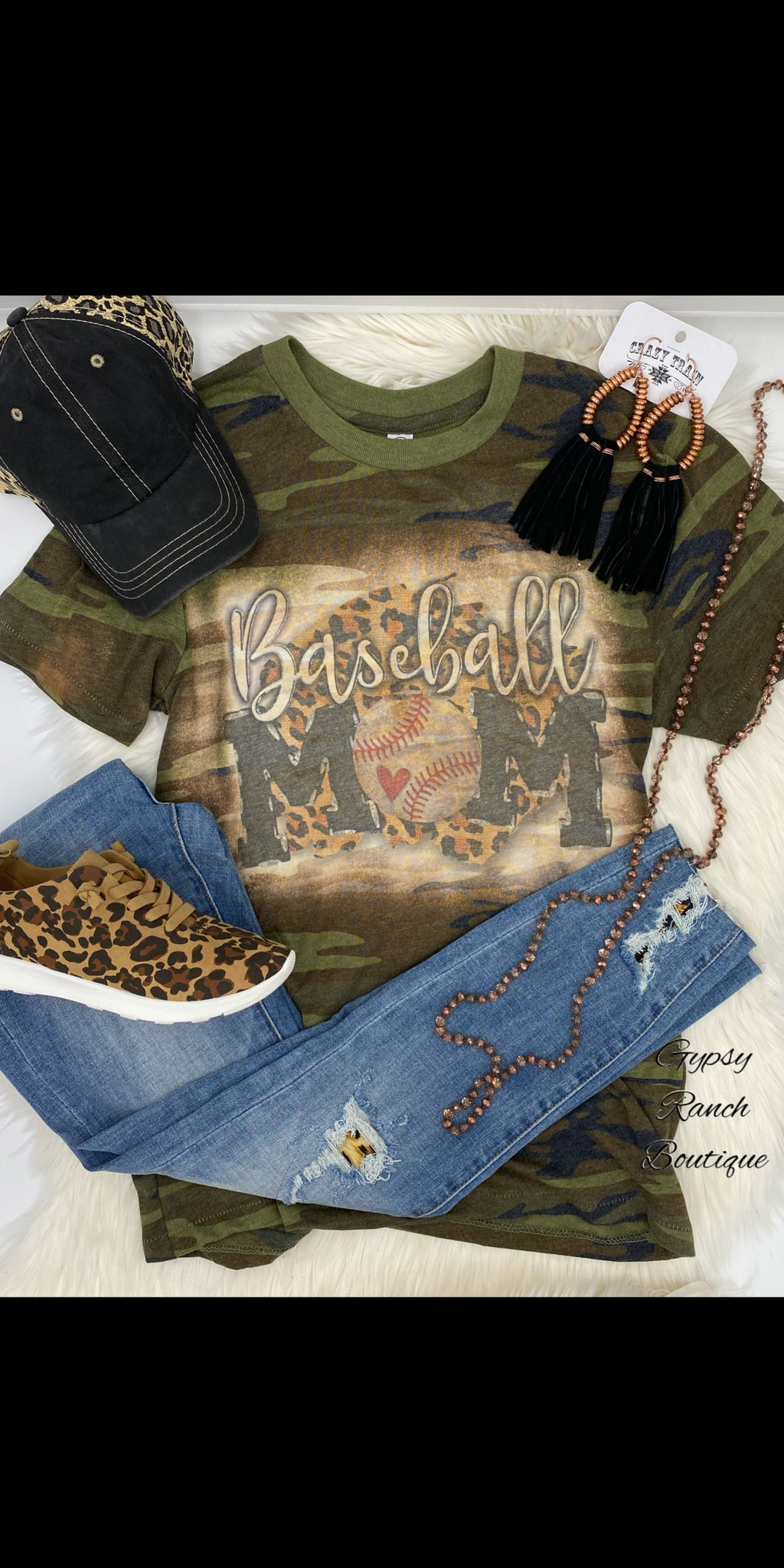 Baseball MoM Leopard Camo Top - Also in Plus Size
