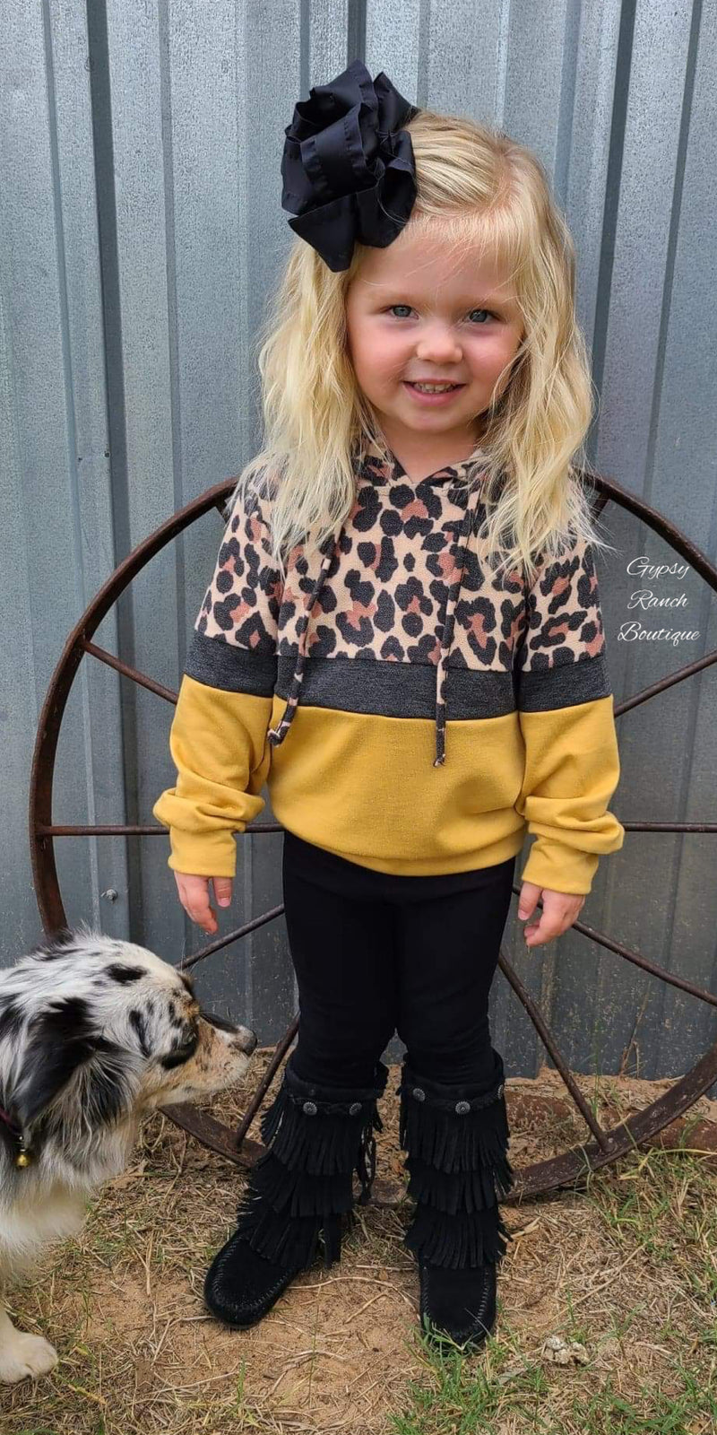 Cora Mustard Leopard Hooded Top - Kids