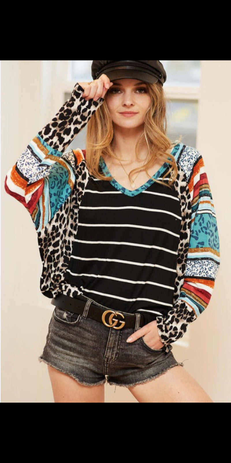 Broken Halos Stripe Leopard Top