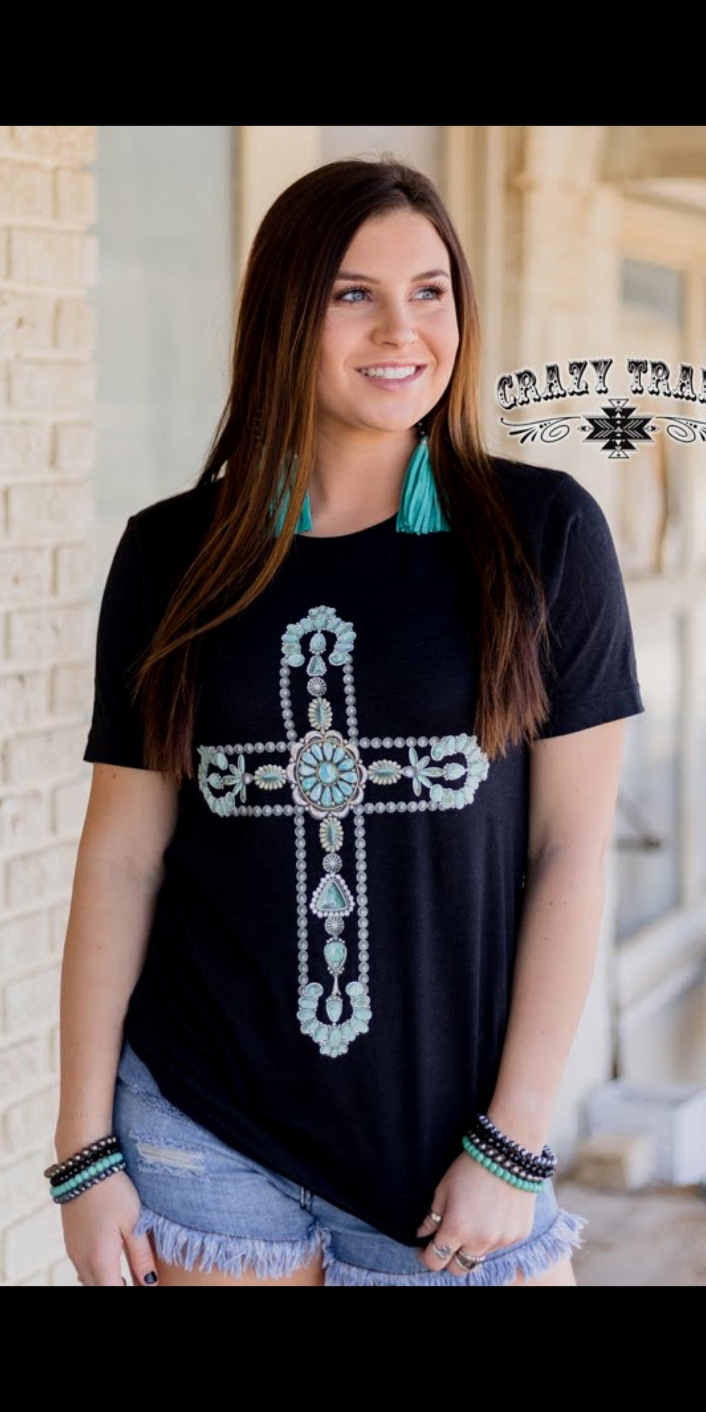 All the Turquoise Cross Top - Also in Plus Size