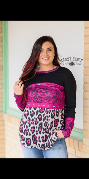 Leopard & Leather Tooled Top - Also in Plus Size