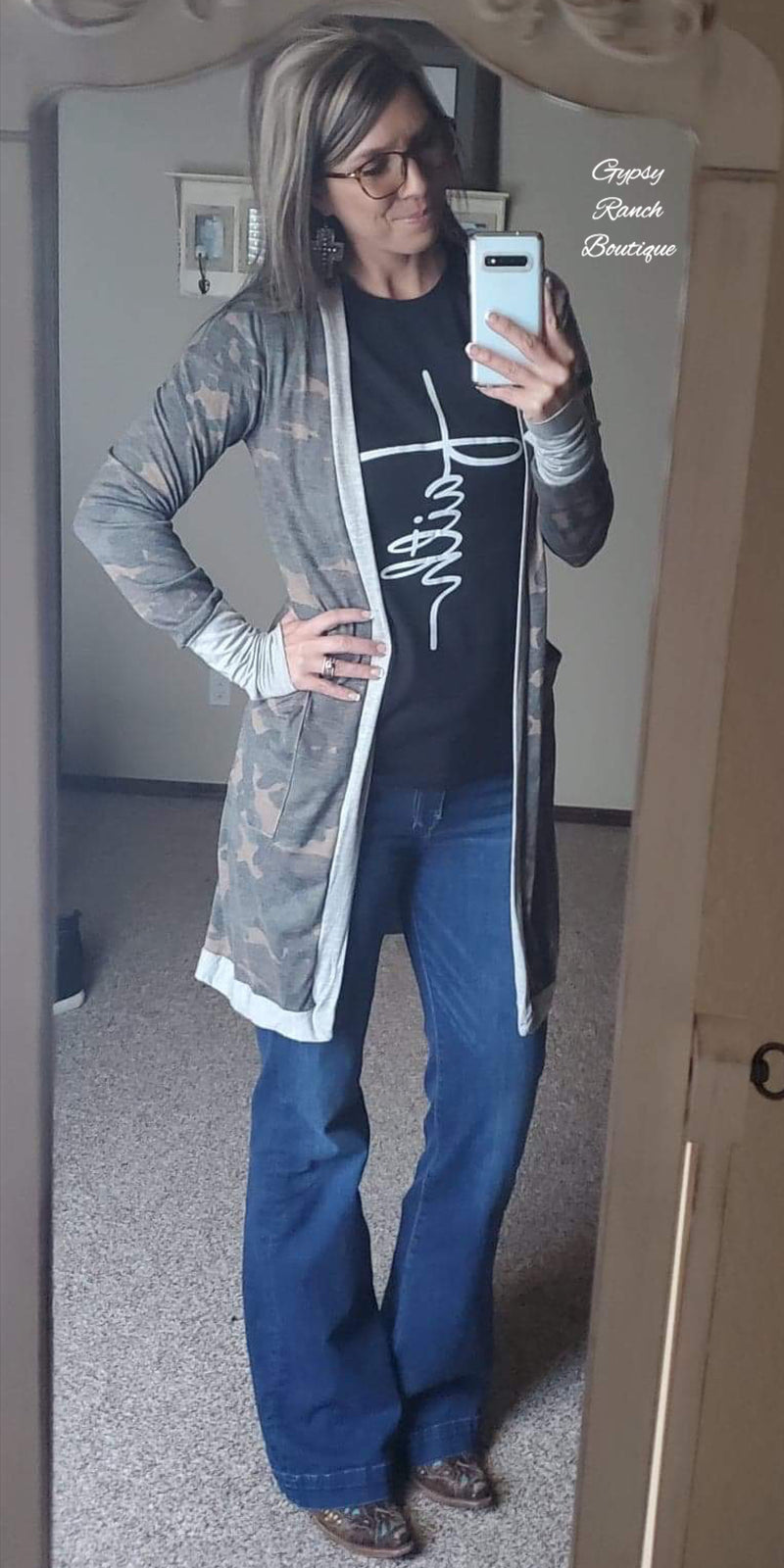 Carson Camo Cardigan - Also in Plus Size