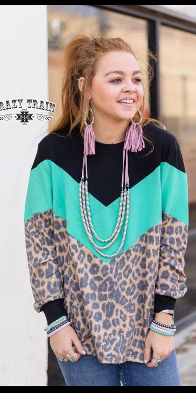 The Block Top Turquoise Leopard Top -Also in Plus Size