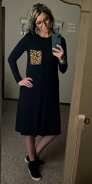 Collin Leopard Black Dress -Also in Plus Size