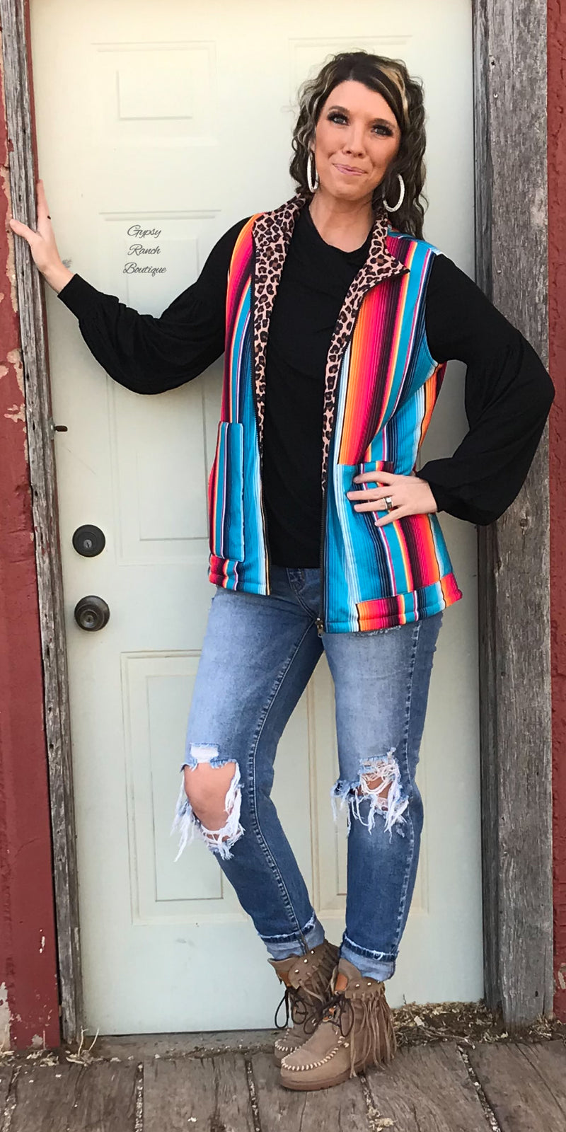 The City Limits Leopard & Serape Vest - Also in Plus Size