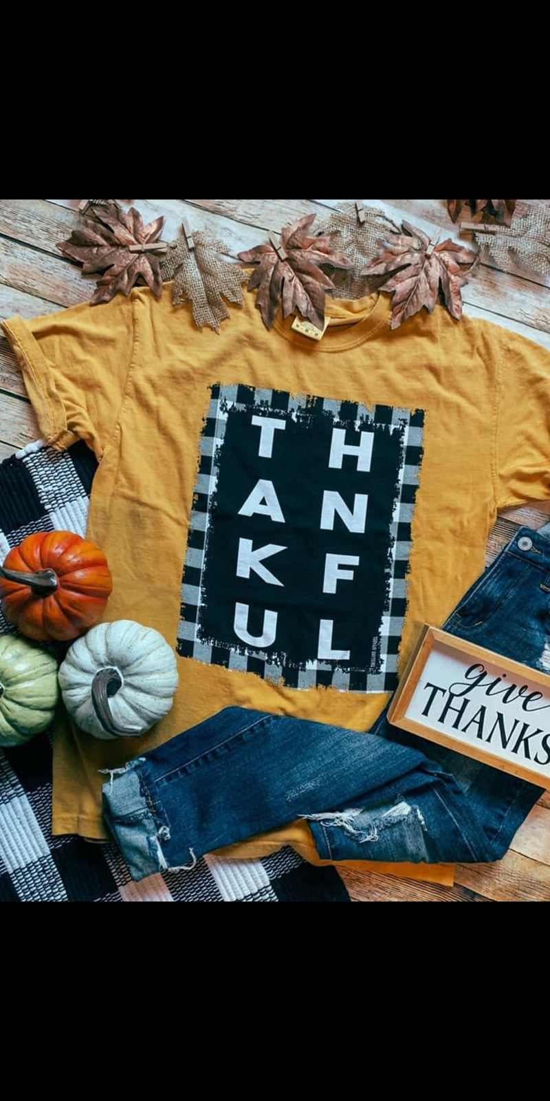 THANKFUL Buffalo Plaid on Mustard Top - Also in Plus Size