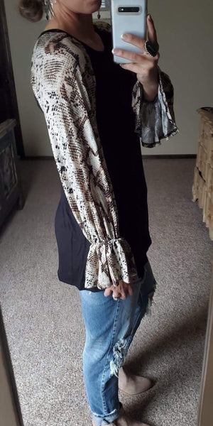 Abby Snake Print Sleeve Top - Also In Plus Size
