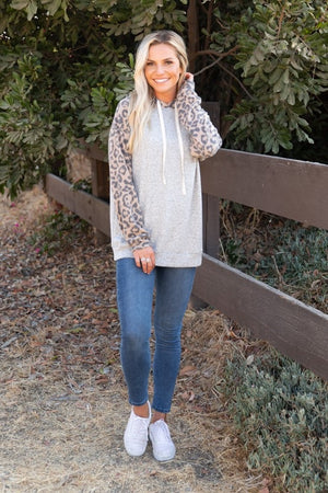 Sanger Leopard Hoodie Top-Also in Plus Size