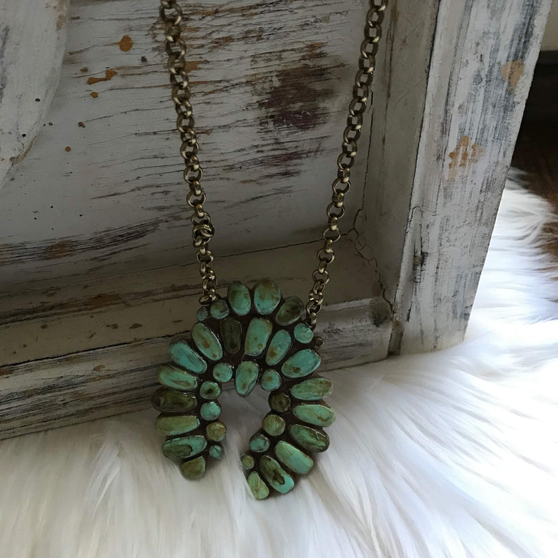 Great Falls Turquoise Squash Blossom Necklace