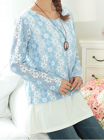 Lace with blouse underlay - feeding top