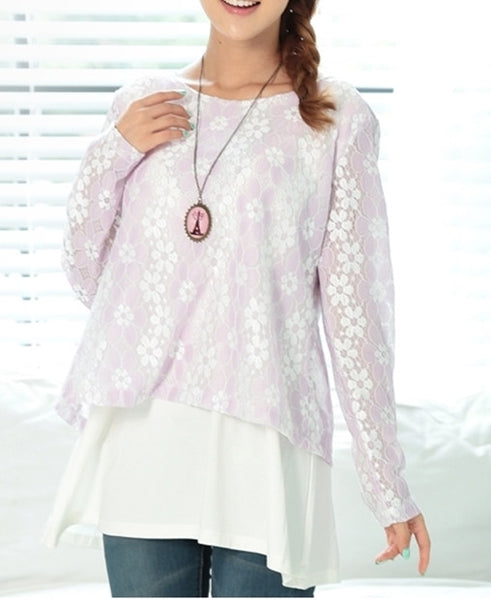 Lace top with blouse underlay - breastfeeding