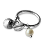 Dangle Charm Ring With White Lombok Pearl
