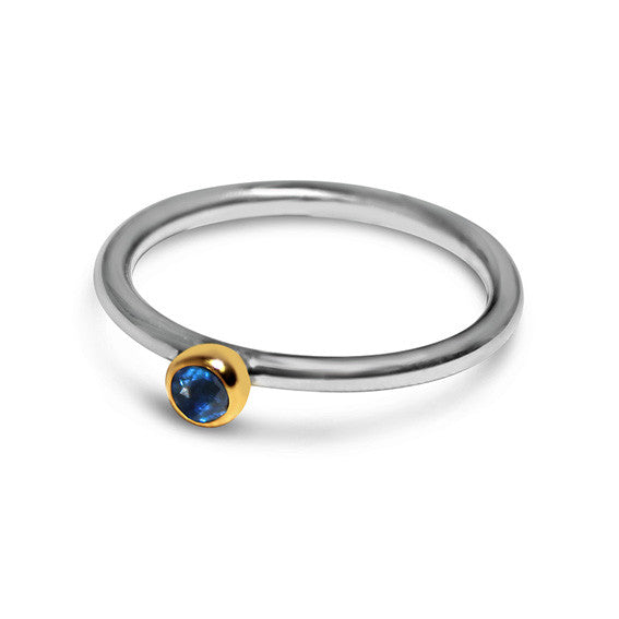 Sterling Silver 925 Kyanite Gemstone Stacker Ring with 18kt Gold Bezel