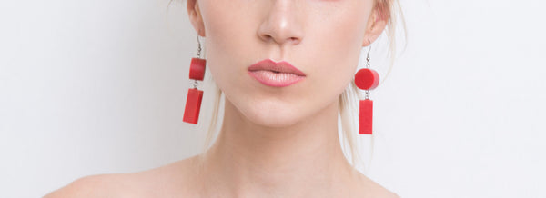 Elda Earrings Set(Red) - Mino Creations Jewellery
