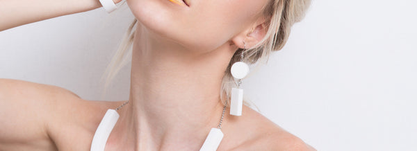 Elda Earrings Set(White) - Mino Creations Jewellery