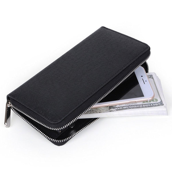 Metal Zipper Long Wallet Black with 2 Cash Compartment - for iPhone 8/ 8 Plus/7/ 7 Plus/6S /6S Plus/6 /Samsung Galaxy S8/S7/S6