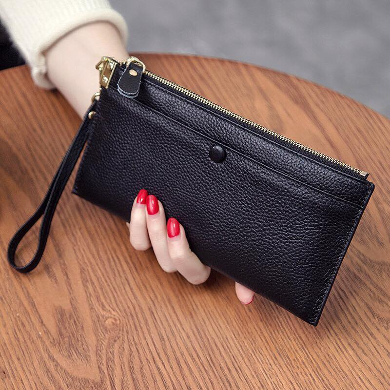 Genuine Leather Smartphone Clutch Cash Card Wallet with Removable Wristlet