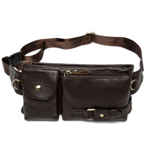Vintage Men's Waist Bag Sports Waist Security Money Pouch Hip Belt Bag Bumbag - Dark Brown